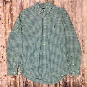 Ralph Lauren blue green and white plaid button up